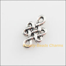 60 New Connectors Chinese Knote Tibetan Silver Tone Charms 6x10.5mm