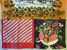 New listing Colorful Graphic Vintage Linen Towels Lot 3 Calendar 60s Anne Hathaway Cottage