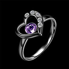 Women 316L black guns Heart Purple CZ Titanium Steel ring size7 Jewelry #028
