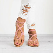 US Womens Rome Gladiator Sandals Travel Bohemia Strappy Thong Summer Shoes Size