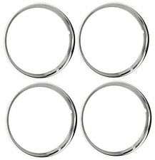 "15"" Chrome Stainless Steel HOT ROD STYLE SMOOTH Beauty Rings TRIM RING SET Of 4"