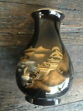 VINTAGE JAPANESE MIXED METAL / BRONZE COLOR PEAR SHAPE ETCHED VASE, PAGODA SCENE