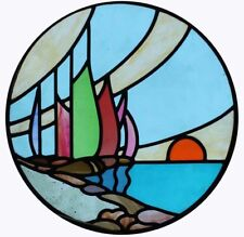 Art Deco Galleon At Sunset Round English Stained Glass Window