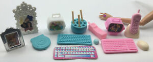 Barbie Doll Accessory DIORAMA OFFICE TV PHOTO CD PLAYER KEYBOARD MOUSE PHONE