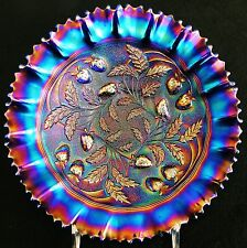 Spectacular Northwood Stippled Electric Blue Strawberry Carnival Glass PCE Bowl