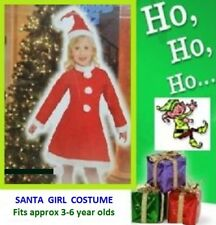 SANTA COSTUME Girls Budget 3pce fit 3-6 year old Christmas Party CLEARANCE PRICE