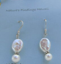 Earrings Pearl coin 10mm & 6mm oval white  -  sterling silver wires & bali  E234