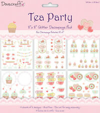 Lot 24 papiers découpage 3D Tea Party gâteaux cupcakes rose cartes scrapbooking