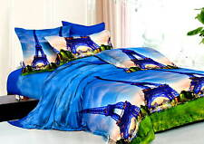 New 5PC Super King Size Bed Quilt/Doona Cover Set,Eiffel Tower AQ217