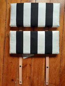 (2) IKEA Poang Armchair Head Cushions Leather Straps w/ Snaps BLACK WHITE STRIPE