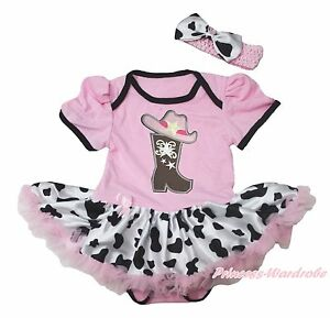 Western Cowgirl Hat Boot Light Pink Girl Bodysuit Milk Cow Baby Dress NB-18Month