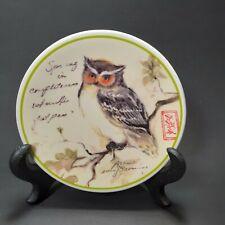 "MWW Market (4"") Mini Owl Plate Susan Winget Spring Owl Wall Hanging Ceramic Dish"