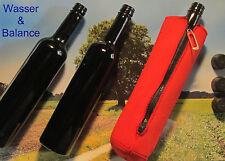 TRES Miron violettglas Botella 500ml (redondo) + ROJA neoprenschutzhülle /