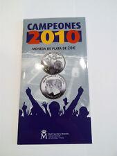 ESPAÑA. 2010. 20 EURO. CAMPEONES DEL MUNDO. CARTERA FNMT