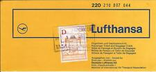 Airline Ticket - Lufthansa - 2 Flight Format - 1969 (T444)