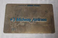 Rare Vintage Midway Airlines Metal Ticket Validation Plate Travel Agency 557