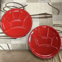 Vintage Starter Plates Pair 2 French Hors D'Oevres Ceramic Side Platters Red