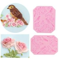 1X 3D Bird Rose Flower Silicone Fondant Cake Mould Decor Chocolate Baking Mold