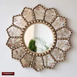 "Handmade Eglomise Round wall Mirror 23.6"", Peruvian luxury Sunflower Mirror wall"