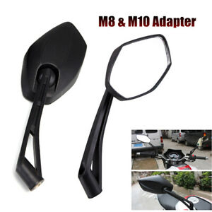 2PCS Universal Motorcycle Rear View Mirror Side Mirrors with M8 & M10 Adapters