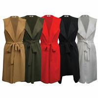 Ladies Knee Length Longline Wide Belt Sleeveless Waterfall Duster Coat/ Jacket