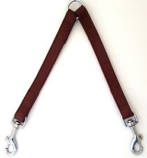 2-WAY LEATHER DOG LEAD DOUBLE LEASH SPLITTER WITH CLIPS COLLAR HARNESS COUPLE