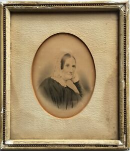 Antique 19th Century Fine Original Gouache Ink Portrait Painting Quaker Woman