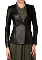 Women Stylish Genuine Lambskin Real Leather oneButton Blazer Coat WB 10