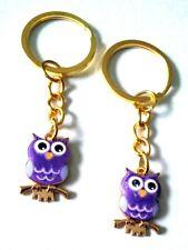 Purple Owl Key Chain gold & Enamel charm Us Seller Free Shipping