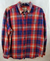 St Johns Bay Mens Flannel Shirt Size XL Red and Blue Red Plaid Button Down