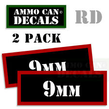 9MM Ammo Can Sticker bullet Can Box ARMY Gun safety Hunting 2 pack RD