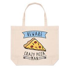 Beware Crazy Pizza Man Large Beach Tote Bag - Funny Food Pepperoni