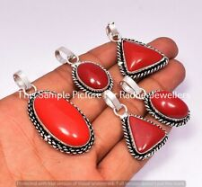 Coral Gemstone 5 Pcs Wholesale Lots 925 Sterling Silver Plated Pendant Lots