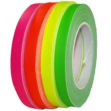 4x Set Neon Gaffa Tape 12mm x 25m Gewebeband Klebeband UV-aktiv farbig sortiert