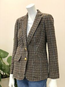 J Crew Rhodes Houndstooth Wool Fitted Blazer Buttons Cord Elbow Patches Size 4