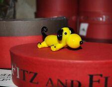 New Fitz & Floyd Glass Menagerie Quincy Figurine Ltd Gift Box Yellow Dog/Puppy