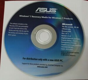 genuine ASUS  Windows 7 recovery media DVD 64 bits disc