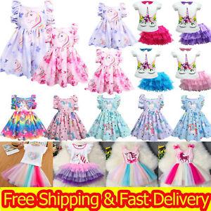 Girls Unicorn Dress Kids Party Tutu Dresses Princess Summer Holiday Birthday UK