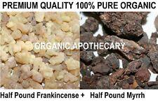 Organic 8oz FRANKINCENSE & 8 oz MYRRH Resin Tear Aromatic Rock Incense TOTAL 1Lb