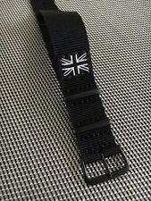 Black Nylon Nato style strap 20mm, Black PVD Hardware & Black/ White Union Jack