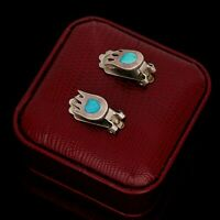 Antique Vintage Sterling 925 Silver Native Zuni Pawn Turquoise Inlay Earrings