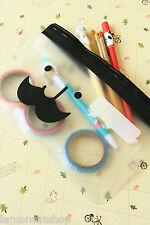 Mr BABBA Mustache Pen Bag kawaii school Zip Pouch trinket makeup cosmetic case