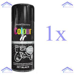 250ML JET BLACK GLOSS PAINT AEROSOL SPRAY CAN QUICK DRYING DIY PLASTIC METAL
