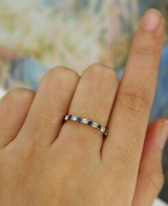 Natural Pave Diamond Blue Sapphire Gemstone Ring Solid 10k Yellow Gold Ring