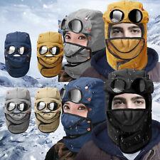 Mens Winter Aviator Bomber Hat Mask Trooper Ear Flap Snow Ski Snow Hood Cap Face