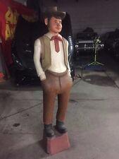 """Carved Wood Lifelike Sculpture Western Cowboy Figurine Art"