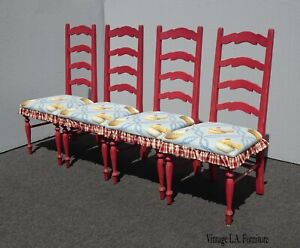 Set of Four Red French Country Dining Chairs w Red & Blue Chicken Fabric Ruffles