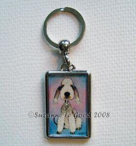 Bedlington Terrier dog art painting key ring chain handbag charm Suzanne Le Good