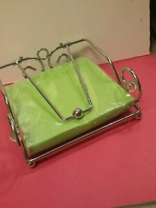 Chrome Paper Napkin Holder with Weighted Metal Arm, Flat Napkin Dispenser