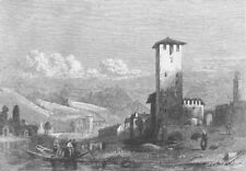 ITALY. Trento, in the Tyrol, antique print, 1863